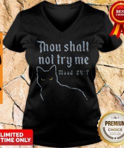 Black Cat Thou Shalt Not Try Me Mood 24-7 V-neck