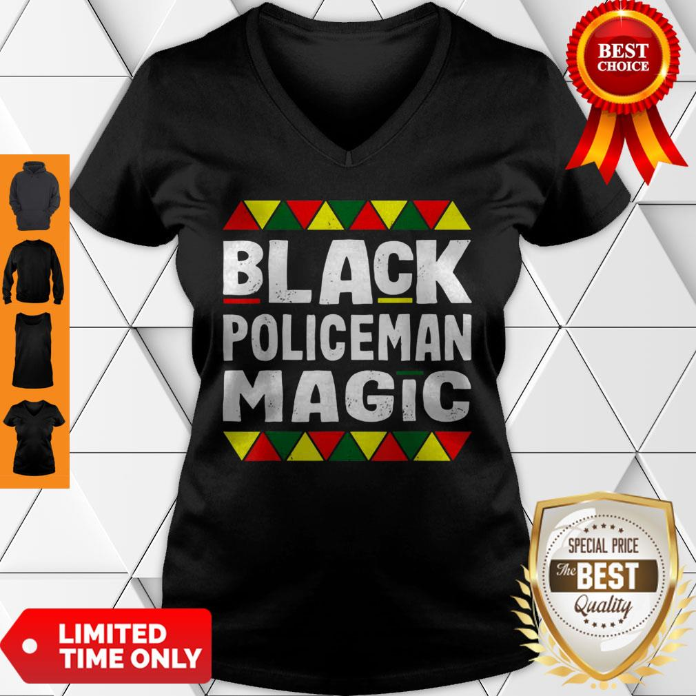 Black Policeman Magic Black History Month Africa Pride V-neck