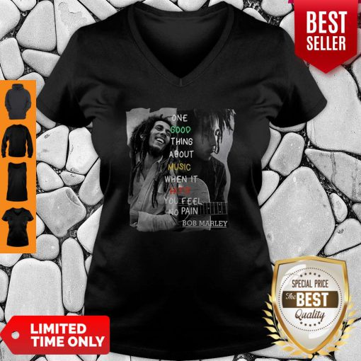 Bob Marley One Good Thing About Music When It Hits You Feel No Pain V-neck