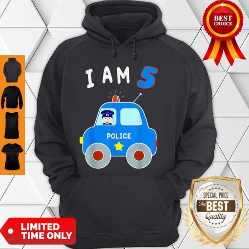 Boys Birthday Shirt 5 Years Police Car Policeman 5th BDay Hoodie