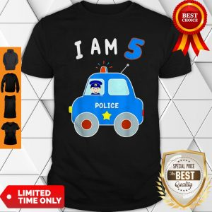 Boys Birthday Shirt 5 Years Police Car Policeman 5th BDay Shirt