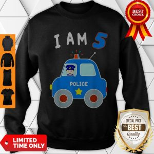 Boys Birthday Shirt 5 Years Police Car Policeman 5th BDay Sweatshirt