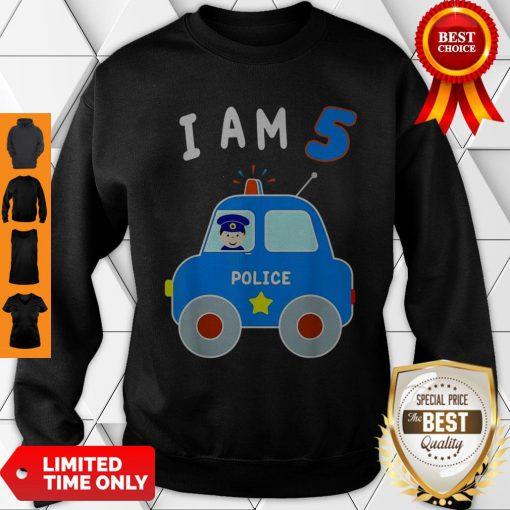 Boys Birthday Shirt 5 Years Police Car Policeman 5th BDay Sweatshirt