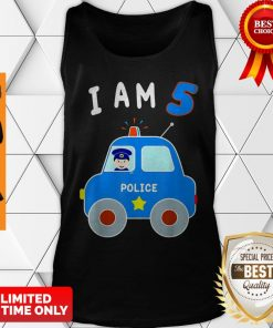 Boys Birthday Shirt 5 Years Police Car Policeman 5th BDay Tank Top
