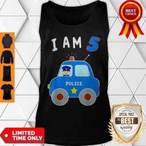 Boys Birthday Shirt 5 Years Police Car Policeman 5th BDay Tank Top