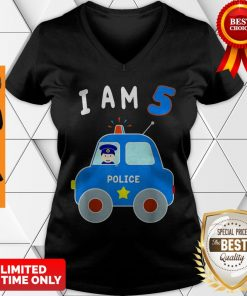Boys Birthday Shirt 5 Years Police Car Policeman 5th BDay V-neck