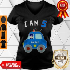 Boys Birthday Shirt 5 Years Police Car Policeman 5th BDay V-neck