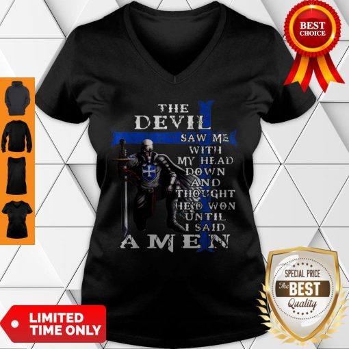 Christian Police Officer The Devil Saw Me Knight Templar V-neck