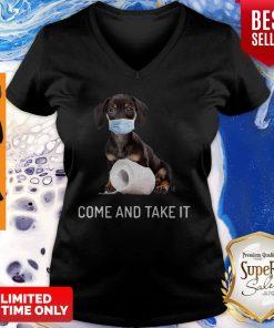 Daschund Come And Take It Toilet Paper Coronavirus V-neck