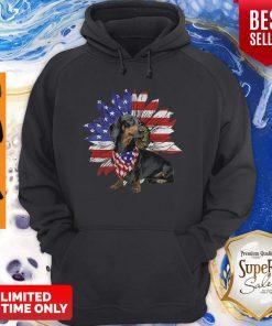 Daschund Sunflower America Flag Dog Lovers Hoodie