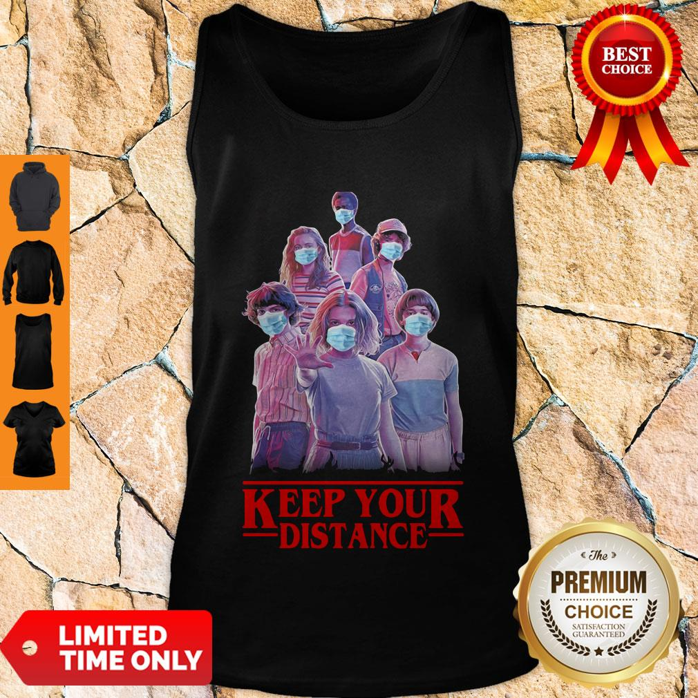 Good Strangerthings Eleven Mike Will Max Dustin Lucas Season Keep Your Distance Covid-19 Tank Top