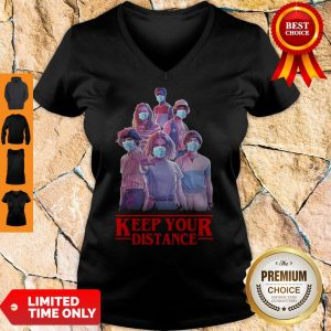 Good Strangerthings Eleven Mike Will Max Dustin Lucas Season Keep Your Distance Covid-19 V-neck
