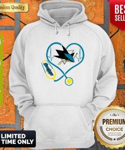 Good San Jose Sharks Nurse Heart Stethoscope Heartbeat Hoodie