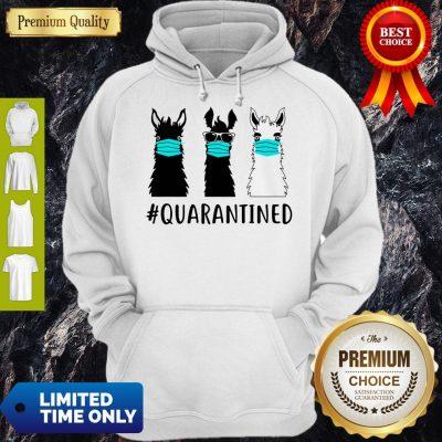 Awesome Llama Face Mask Quarantined Version Black White Hoodie