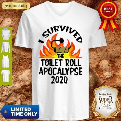 I Survived The Toilet Roll Apocalypse 2020 Toilet Paper V-neck