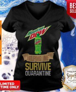 Mountain Dew Helping Me Survive Quarantine Coronavirus V-neck