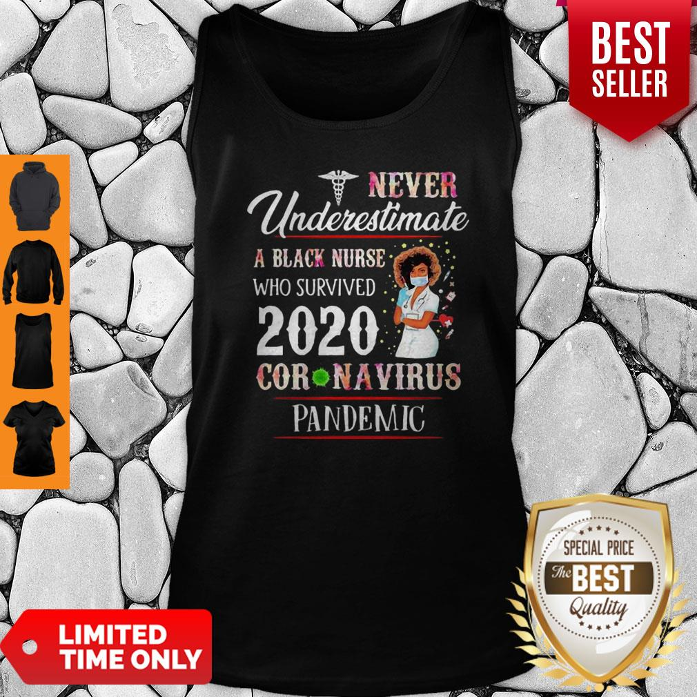 Never Underestimate A Black Nurse Who Survived 2020 Coronavirus Pandemic Tank Top