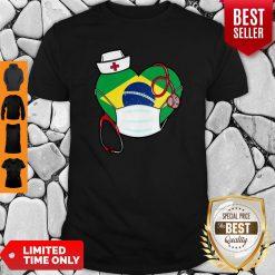 Nice Brazil Nurse Heart Stethoscope Shirt