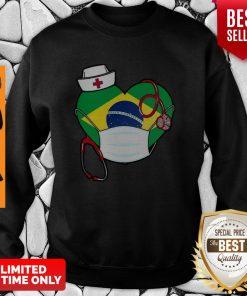 Nice Brazil Nurse Heart Stethoscope Sweatshirt