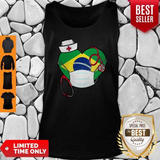Nice Brazil Nurse Heart Stethoscope Tank Top