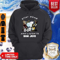 Nice Snoopy Woodstock Mask Stay Home And Listen To Bon Jovi Hoodie - Design By Earstees.com