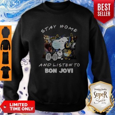 Nice Snoopy Woodstock Mask Stay Home And Listen To Bon Jovi Sweatshirt - Design By Earstees.com