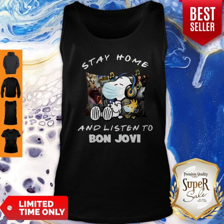 Nice Snoopy Woodstock Mask Stay Home And Listen To Bon Jovi Tank Top - Design By Earstees.com