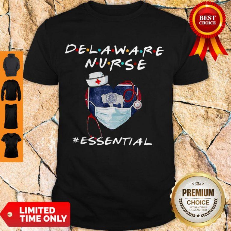 Official Delaware Nurse Heart Stethoscope Delaware Flag Shirt