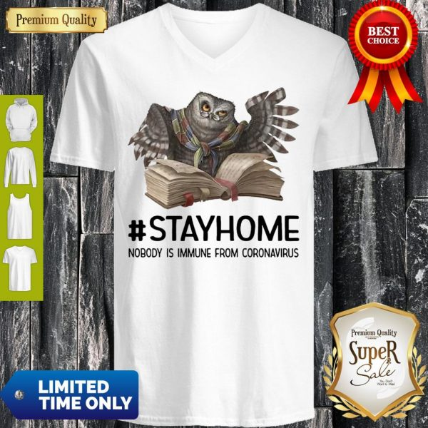 Owl Reading Book Stay Home Nobody Is Immune From Coronavirus V-neck