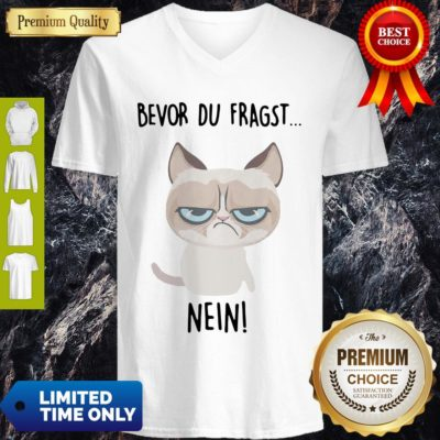 Premium Bevor Du Fragst Nein Cat V-neck - Design By Earstees.com