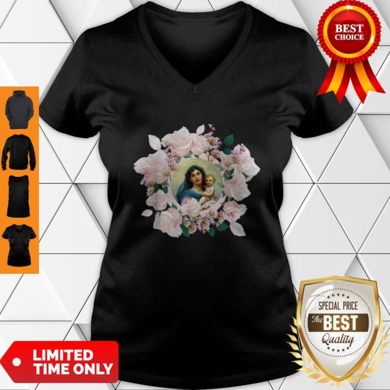 Premium Blessed Mother Mary And Jesus Flowers V-neck - Design By Earstees.com