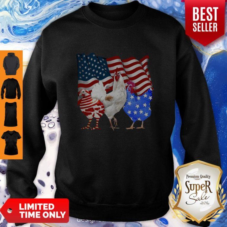 Premium Chicken American Flag Sweatshirt - Design By Earstees.com