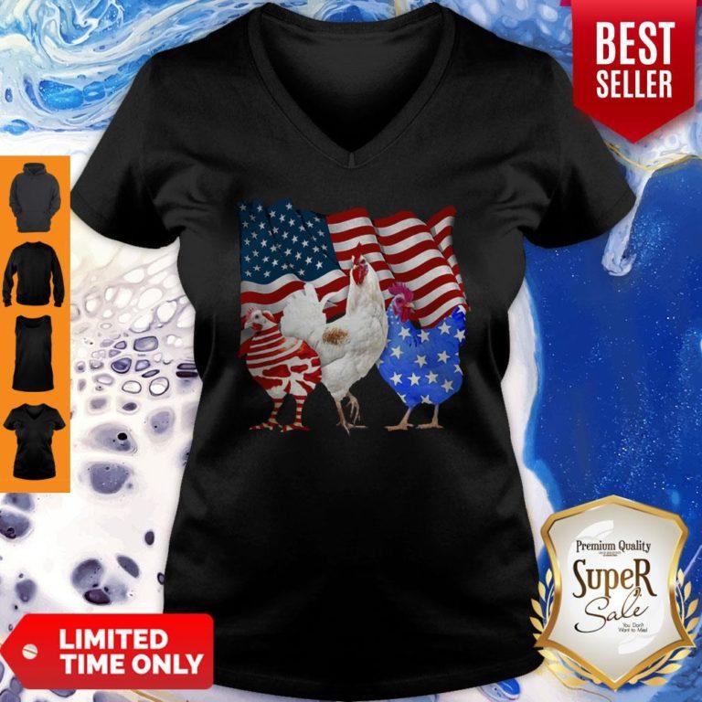 Premium Chicken American Flag V-neck - Design By Earstees.com