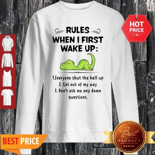 Rules When I First Wake Up Everyone Shut The Hell Up Dinosaurs Sweatshirt