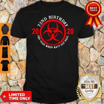 Nice 72nd Birthday 2020 Quarantine The Year When Shit Got Real Quarantine Shirt