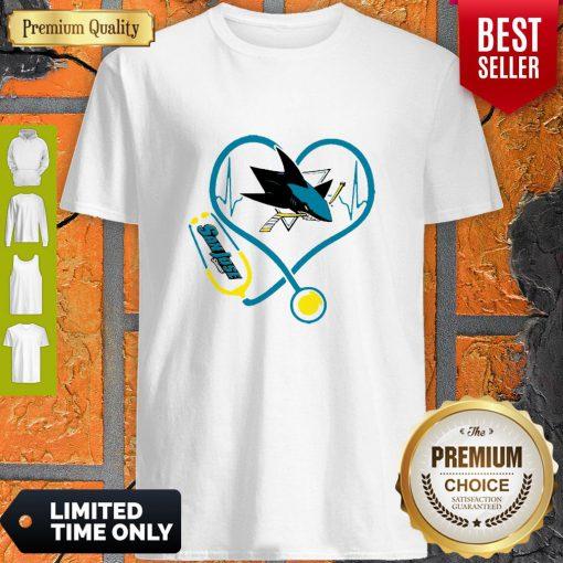 Good San Jose Sharks Nurse Heart Stethoscope Heartbeat Shirt