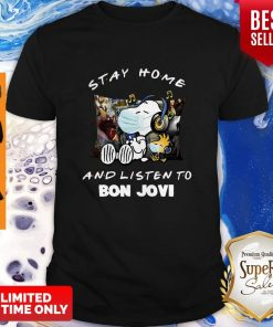 Nice Snoopy Woodstock Mask Stay Home And Listen To Bon Jovi Shirt
