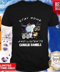 Nice Snoopy Woodstock Mask Stay Home And Listen To Charlie Daniels Shirt