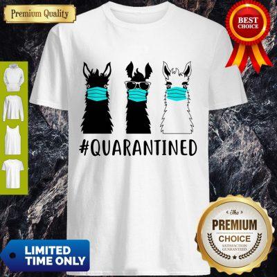 Awesome Llama Face Mask Quarantined Version Black White Shirt