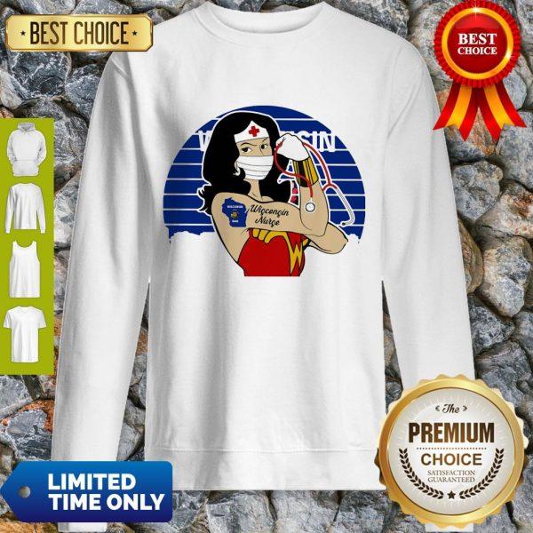 Good Wonder Woman Tattoos Wisconsin Nurse Covid-19 Vintage Sweatshirt