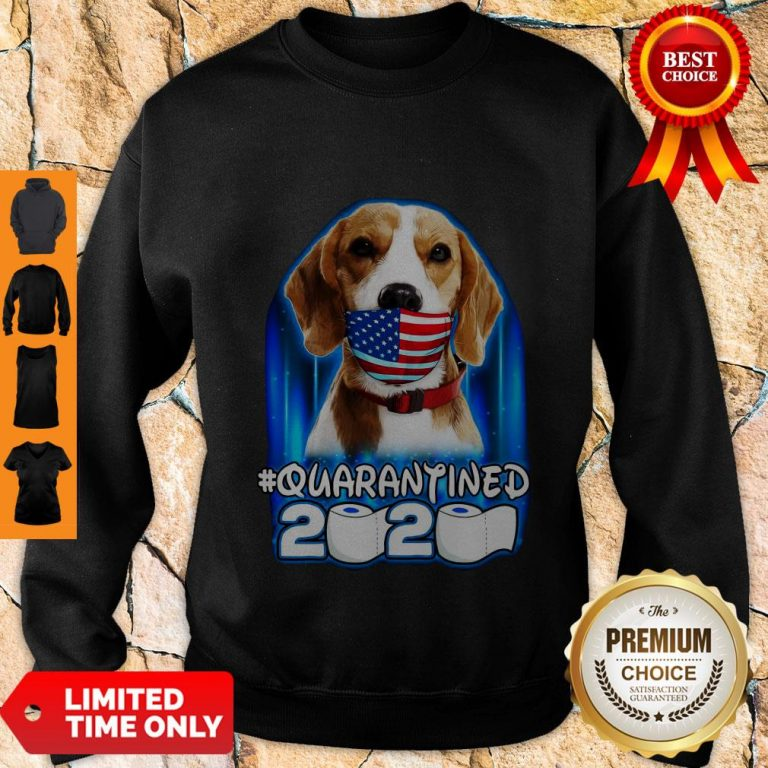 Funny Beagle Face Mask American Flag Quarantined 2020 Toilet Paper Sweatshirt
