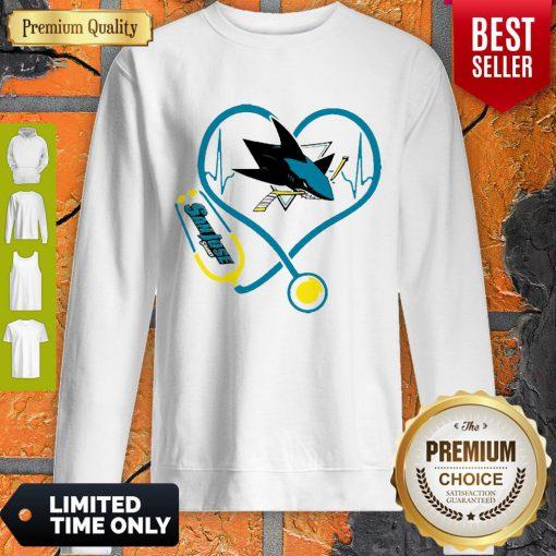 Good San Jose Sharks Nurse Heart Stethoscope Heartbeat Sweatshirt