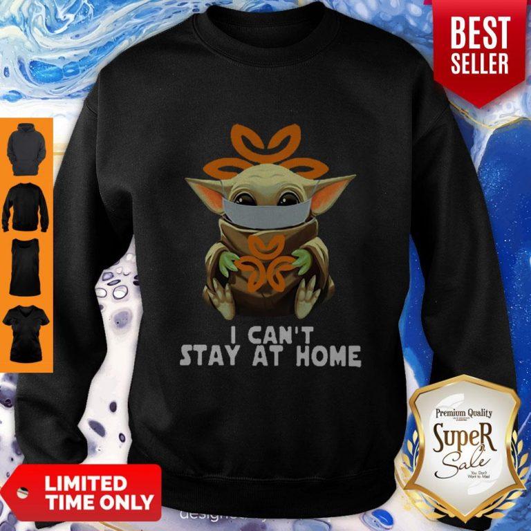 Top Star Wars Baby Yoda Face Mask Hug Dignity Health I Can't Stay At Home Sweatshirt
