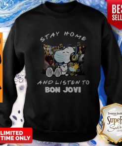 Nice Snoopy Woodstock Mask Stay Home And Listen To Bon Jovi Sweatshirt