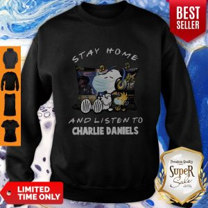 Nice Snoopy Woodstock Mask Stay Home And Listen To Charlie Daniels Sweatshirt
