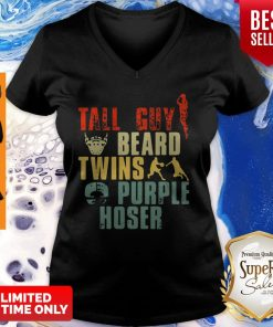 Tall Guy Beard Twins Purple Hoser V-neck