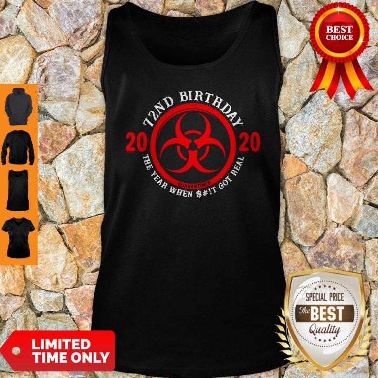 Nice 72nd Birthday 2020 Quarantine The Year When Shit Got Real Quarantine Tank Top