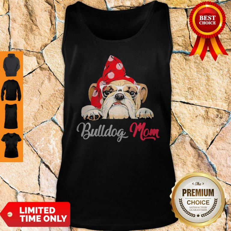Premium Bulldog Cute Wear Glasses Dog Mom Tank Top