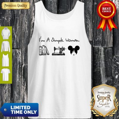 Premium I Am A Simple Woman Book Sewing Mickey Mouse Tank Top