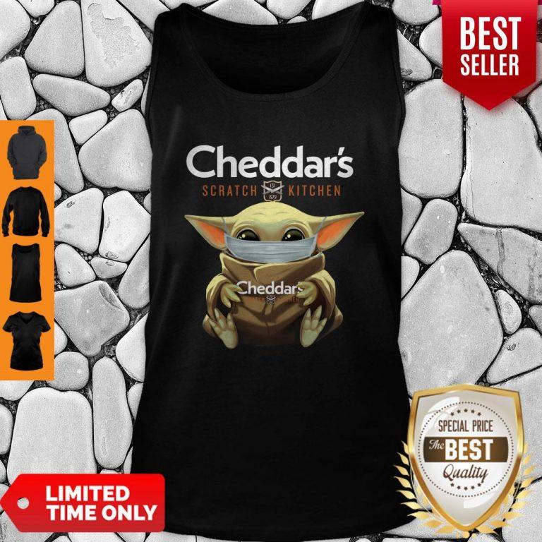Awesome Baby Yoda Mask Cheddar's Scratch Kitchen Coronavirus Tank Top